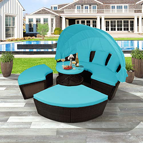 LZ LEISURE ZONE Outdoor Patio Furniture Sets, All-Weather PE Rattan Wicker Round Daybed Sectional Sofa Set Conversation Sets with Retractable Canopy and Coffee Table (Blue)