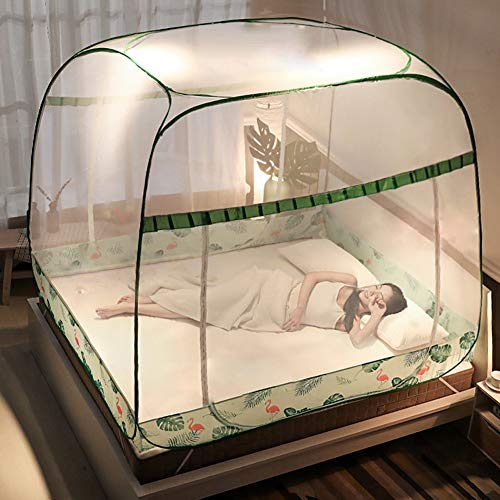 Pop-Up Mosquito Net Tent Canopy for King Size Beds, Netting Design with Net Bottom, Finest Holes Anti Mosquito Bites, Self-Standing Tent for Camping, Folding Portable for Baby Adults Trip,Green,1.82.