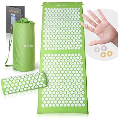 High Pulse XXL Akupressur Set + 5 Ringe + Poster – Extra lange Akupressurmatte & Kissen stimuliert die Blutzirkulation und löst Verspannungen (Grün)