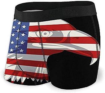 American Flag Eagle Head Mens Boxer Briefs Ropa Interior de algodón Suave Ropa Interior elástica Transpirable M