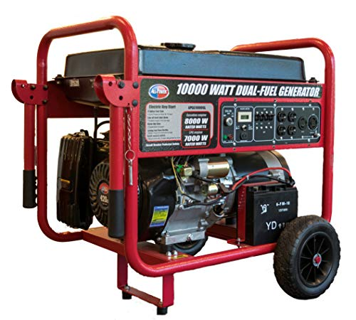 All Power America APGG10000GL 10000 Watt Dual Fuel Portable Generator with Electric Start 10000W Gas/Propane, Black/Red