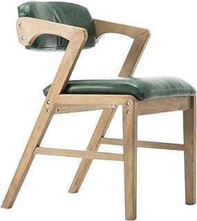 Sillas de comedor con patas de madera, silla de cocina, poliuretano con respaldo apoyabrazos oficina oficina oficina oficina reuniones negociar recepción café cocina (color: verde, tamaño: A)
