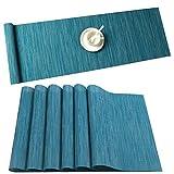 U'Artlines Tovagliette Set di 6 Lavabili Resistenti al Calore in Vinile per Tavolo da Pranzo Blu(6 pezzi di Tovagliette + 1 Runner)