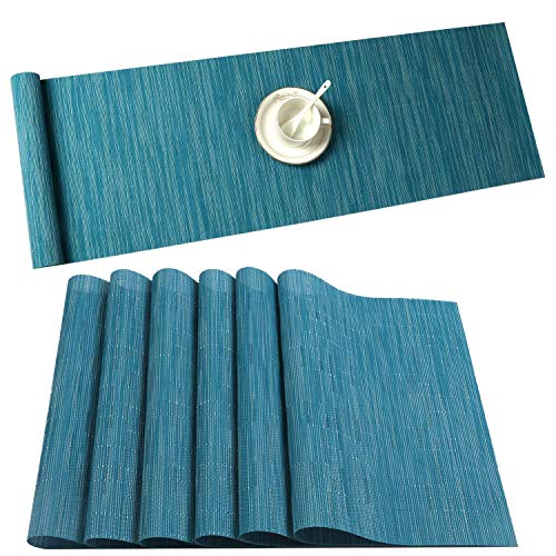U'Artlines 6er Set Platzsets und Tischläufer Hitzebeständigen Waschbaren Woven Vinyl Tischsets und Tischläufer(6+1,blau)