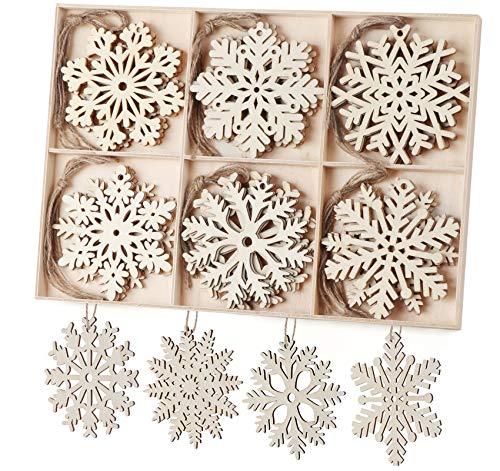 ilauke Weihnachten Holz Schneeflocken Christbaumanhänger 30 TLG. Schneeflocken aus Holz Weihnachtsbaumschmuck Weihnachtsbaum Deko10cm für DIY Basteln Winterdeko Weihnachtdeko