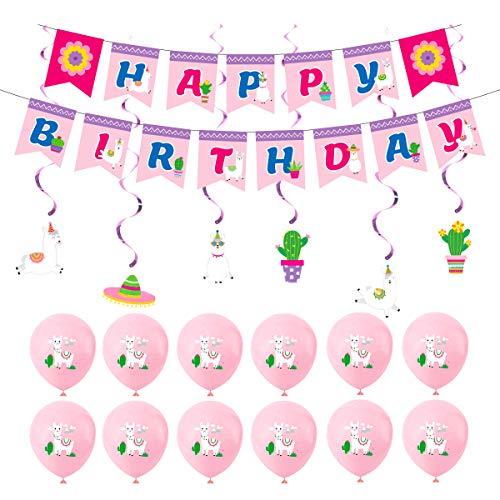 Decoraciones de Cumpleaños, Alpaca Cumpleaños Globos Feliz Cumpleaños Banner para Ceremonias de Graduación, Aniversarios, Baby Shower