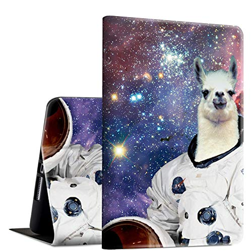 iPad 9.7 2018/2017 Case,iPad Air 2/iPad Air Case, Rossy PU Leather Folio Smart Cover Shock Case with Adjustable Stand & Auto Wake/Sleep Feature for Apple iPad 6th/5th Gen,Space Llama