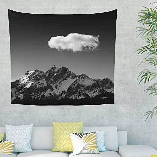 Niersensea Tapiz de pared para colgar en la pared, paisaje, nieve, montaña, cielo, nubes, picnic, playa, mesa, sofá, funda para habitación de los niños, color blanco, 230 x 150 cm