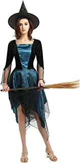 QYLOZ Blue Witcher Cosplay, Ladies Character Halloween Costume, Suitable for All Kinds of Theme Party Costumes, Including Costumes and Hats (Suitable for Height 160cm-175cm)