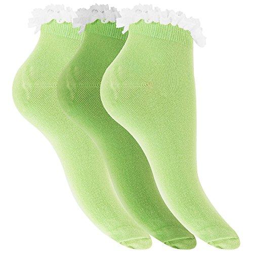 Universaltextilien Damen Sneaker-Socken mit Rüschen-Abschluss, 3er-Pack (37-41 EUR/UK 4-7) (Grüntöne)
