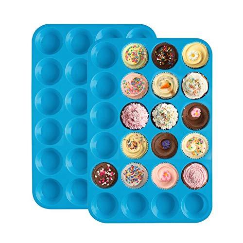 WSN Moule à gâteau en Silicone à 24 Trous Ronds, Ensemble de ustensiles de Cuisson Petit dôme Moule en Silicone pour la décoration de gâteaux gelée Pudding Bonbons Chocolat 2 pièces,Bleu