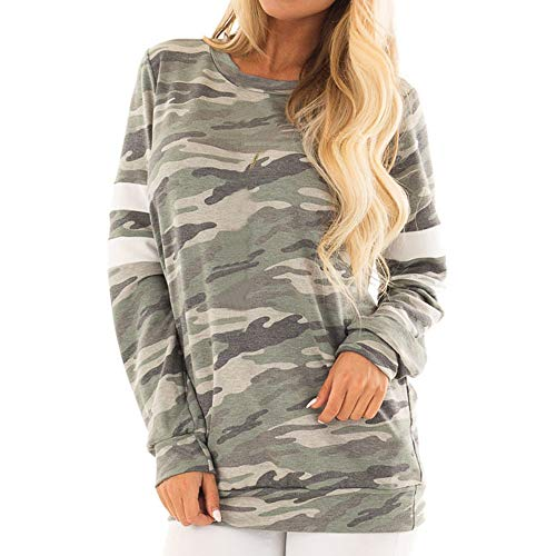 Alikeey blouse, wit, dames, winter, grote maten, modieus, vrouwen, camouflage, casual, top, T-shirt, dames, lange mouwen, blouse, top