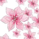 WILLBOND 36 Piezas Flores de Pascua Brillantes Flores Artificiales Adornos con Brillo de Año Nuevo Árbol de Navidad Boda (Rosa, 3 Pulgadas, 4 Pulgadas, 6 Pulgadas)
