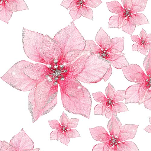 36 Pieces Christmas Glitter Poinsettia Flowers Artificial Flowers Wedding Glitter Christmas Tree New Year Ornaments (Pink,3 Inch, 4 Inch, 6 Inch)