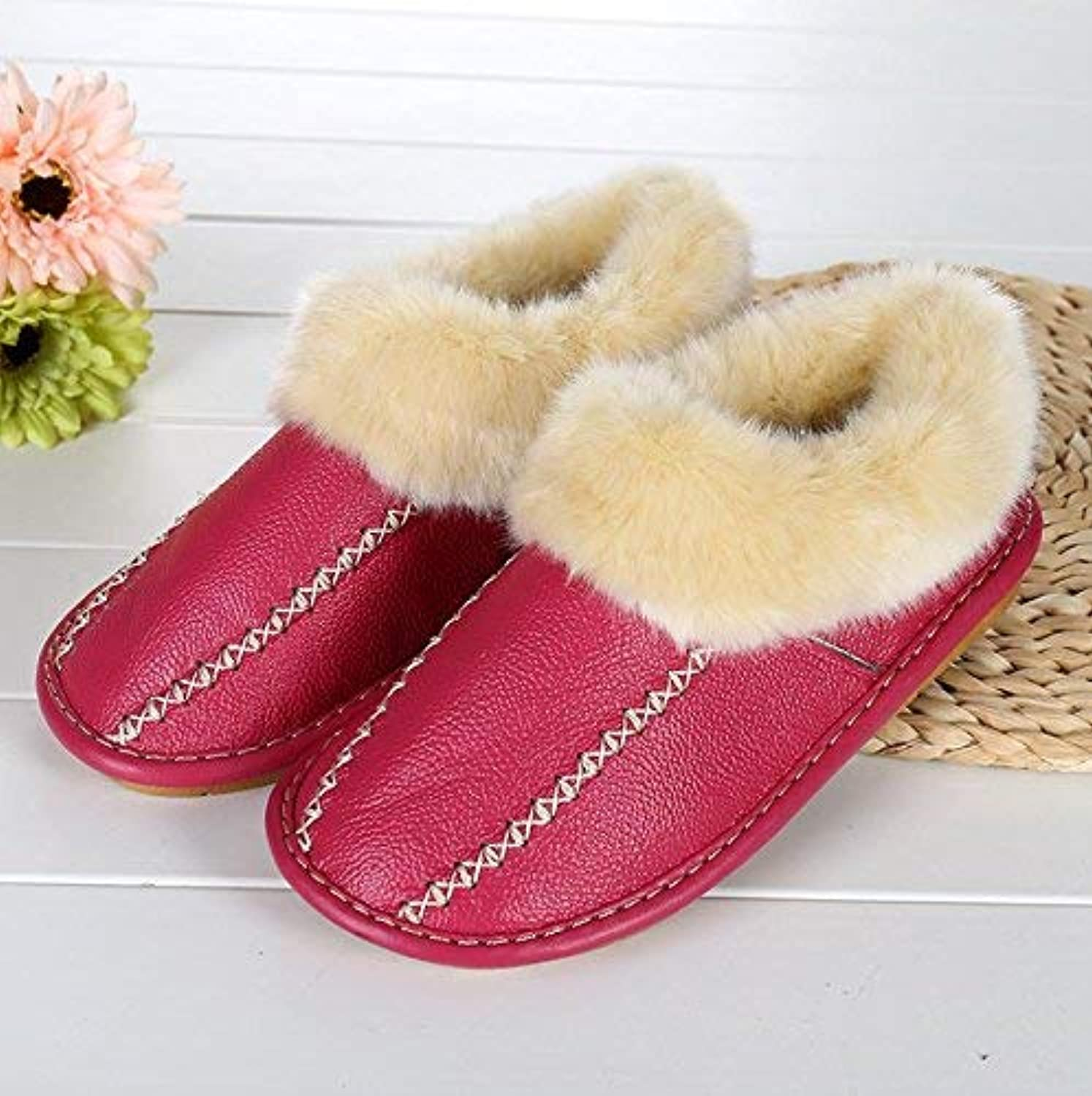 So8ooa Lady Slippers Ladies Casual Faux-Leather Padded Slippers Home Warm in Autumn and Winter Slippers pink Red for Women 37