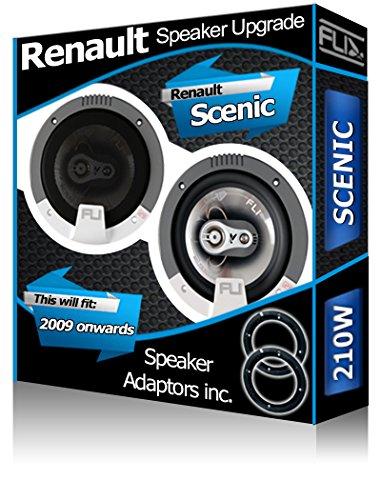 FLI Porte Avant Renault Scenic Orateurs Haut-parleurs de Voiture + Adaptateur pour Haut-Parleur gousses 210 W