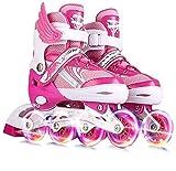Patines en línea Patines en línea Niños para niños Patines ajustables de rodillos con 8 luces arriba LED Rueda Principiante Deportes al aire libre Recreación Fitness ( Color : Pink , Size : Large )