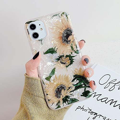 HUAI Caso de Shell Textura de la Flor del teléfono for el iPhone 11 Pro XR XS MAX 6 7 8 Plus 6S Suave IMD Dedo anular de Cristal Cubierta Trasera del teléfono (Color : Q, Material : For iPhone XR)