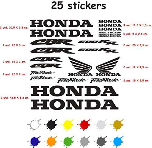 Kit Adesivo Moto Vinile 7 Anni Sagomato Compatibile con Honda CBR 600 RR Contiene 25 Adesivi (Nero)