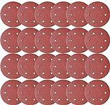 SACKORANGE 30 PCS 9 Inch 6 Hole 80 Grit Hook & Loop Sanding Discs - Aluminum Oxide Sander Disc Grinding Abrasive Sandpaper for Powe Drywall Sander Wood Furniture Finishing (80 Grit-30 Pack)