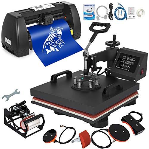 Mophorn Heat Press 15x15 inch Heat Press Machine 5 in 1 for T-Shirt and Vinyl Cutter 14 inch Plotter...