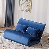 Japonés plegable colchón de futón, felpa sillón de piso sofá perezoso silla de juego para departamento casa de alquiler habitación de huéspedes sofa cama tatami-azul real-195x115x10cm(77x45x4inch)