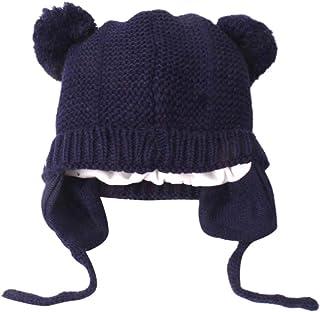 Gorros de Punto de Bebé Niño Niña Invierno Sombrero Piloto Tejer Earflap Sombreros