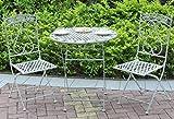 GlamHaus - Set di mobili da Giardino e Balcone, 3 Pezzi, Tavolo e Due sedie Pieghevoli, Stile Vintage, Realizzato a Mano, Colore: Grigio Antico