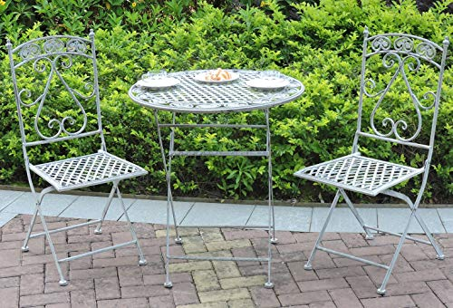 GlamHaus Garden Bistro Patio Foldable 3 Piece Metal Garden Balcony Furniture Set Outdoor Table and Two Folding Chairs Antique Grey Beautiful Handmade Vintage Set Milan