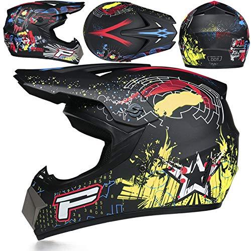 Motorfiets off-road helm kinderen en adolescenten elektrische helm skelter volledige helm helm-Domme zwarte p bloem Licht, comfortabel en veilig helmet_XL