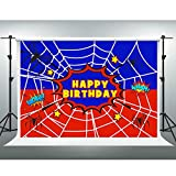 GESEN Spiderman Background for Son's Birthday Party,10x7FT, Superhero Spider Web Photography Backdrop for Pictures, Children Kids Birthday Party Banner, Photo Studio Props LSGE1373