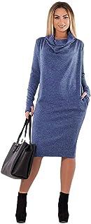 エレガントなドレス 女性の冬の長袖タートルネック緩いドレスプルオーバーソリッドストレッチスウェットジャンパーシャツドレスポケット付き 快適なスカート (色 : 青, サイズ : 3XL)