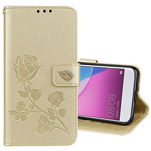 Ebogor para Huawei P9 Lite Mini Wallet Funda, Rosa en Relieve Flip Horizontal PU Funda Protectora de Cuero con Soporte y Ranuras para Tarjetas Caja del teléfono Creativo (Color : Gold)