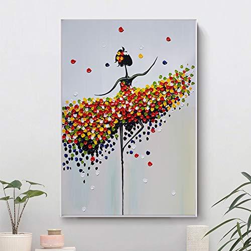 Kein Rahmen Wand abstrakte Kunst Leinwand Malerei Bunte abstrakte tanzende Mädchen Leinwand Drucke für Wohnzimmer Cuadros Home Decor No Frame