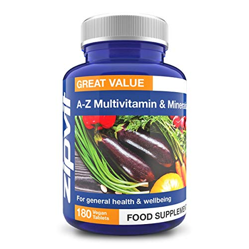 Vegan Multivitamins & Minerals A-Z Formula, 180 Tablets. Includes Vitamin B12 & D3, Provides 25 Vitamins, Minerals & Micronutrients. Vegetarian Society Approved.