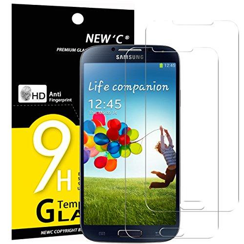 NEW'C PanzerglasFolie Schutzfolie für Samsung Galaxy S4, [2 Stück] Frei von Kratzern Fingabdrücken & Öl, 9H Festigkeit, HD Bildschirmschutzfolie, BildschirmschutzfolieSamsung Galaxy S4