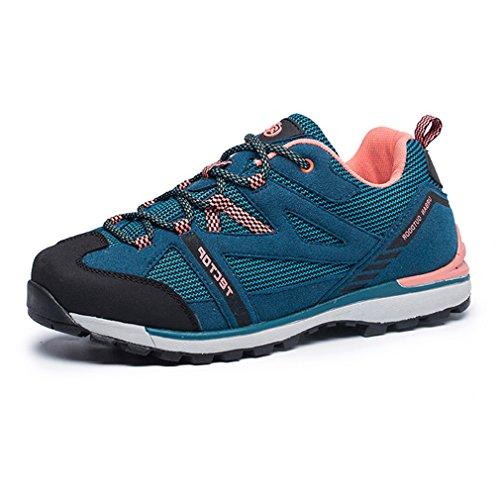 emansmoer Femmes Outdoor Imperméable Suède Sports Randonnée Trekking Chaussures Dames Respirant Mesh Casual Lace-up Low-Top Athlétique Sneakers (Taille 40, Bleu)
