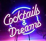 """Neonreklame-Schild aus Echtglas """"Cocktails und Dreams"""", für Zuhause, Bars, Clubs, Garagen,..."""