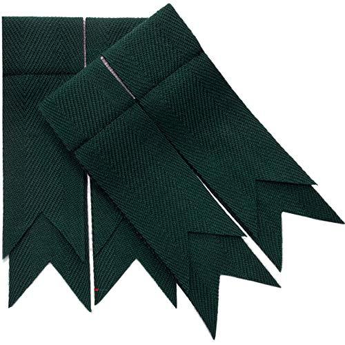 Mens Kilt Flashes Double Garter Pure Wool Bottle Green Plain