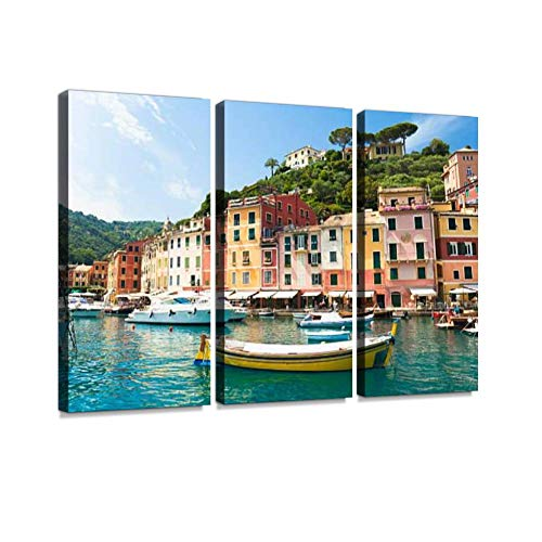 YKing1 Beautiful Portofino Liguria, Italy Fishing Boat Stock Pictures, Wall Art Painting Pictures Print On Canvas Stretched & Framed Artworks Modern Hanging Posters Home Decor 3PANEL
