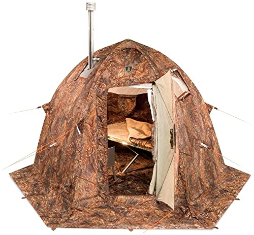 Russian-Bear Hot Tent with Stove Jack. Hunting Fishing Outfitter Cold Weather Tent with Wood Stove Hole. 4 Season Tent. Expedition Arctic Living Warm Tent.