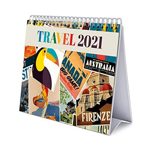 Erik® Calendrier Mensuel 2021 Travel | Calendrier de Bureau 12 Mois | Avec des Espaces pour Écrire | De Janvier à Décembre 2021