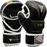 Mytra Fusion MMA Gloves Grappling Gloves Martial Arts Gloves Sparring Gloves Punching Bag Gloves (Black Gold, S/M)