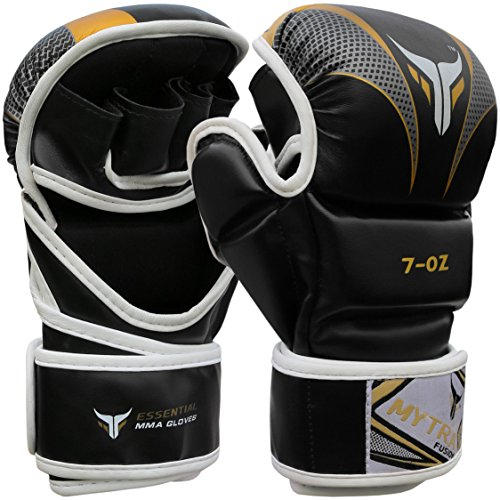 guanti sparring Mytra Fusion MMA Gloves Grappling Gloves Martial Arts Gloves Sparring Gloves Punching Bag Gloves (Black Gold