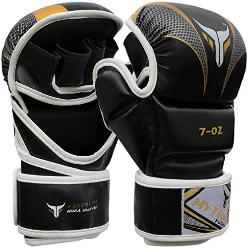 Mytra Fusion MMA Gloves Grappling Gloves Martial Arts Gloves Sparring Gloves Punching Bag Gloves (Black Gold, L/XL)