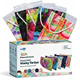 WeCare Disposable Face Masks For Kids, 50 Assorted Wacky Tie Dye Masks, Individually Wrapped