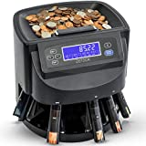 DETECK Aura Coin Counter Machine Automatic Coin Roller, DT100 Coin sorter and Wrapper Machine 1c,5c,10c,25c & Dollar up to 300 Coins per min, Included 64 Preformed Wrappers, 5 Coin Bins & 5 Tubes