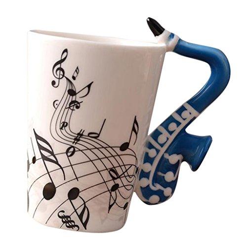 Homyl Keramik Kaffeetasse Lusitig Teetasse Instrument Wasserbecher - Blaues Saxophon