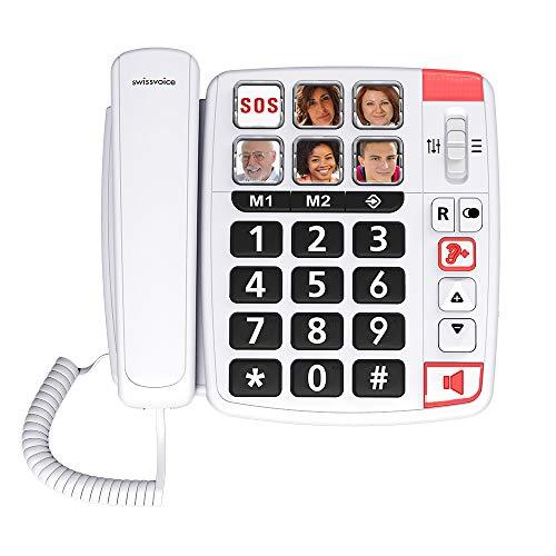 SWISSVOICE Swissvoice Xtra 1110 - téléphone Filaire pour Les séniors, 6 Photos mémoires, 2 mémoires directes, Amplification Audio(+30dB), Sonnerie Extra Forte (85dB), Mains Libres - Blanc