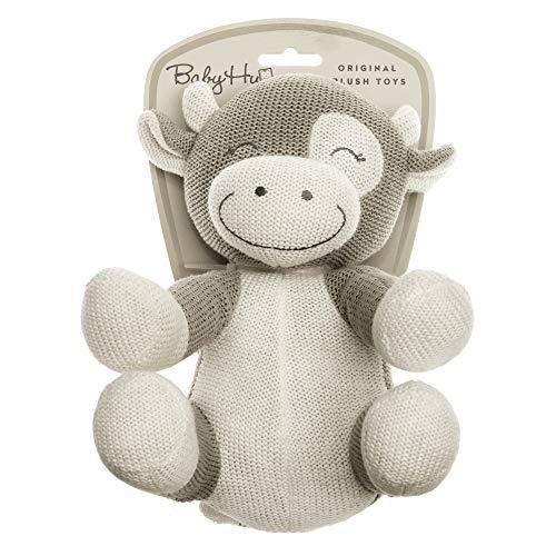 BABY HUG Sitting Cow Hug Me, 3831118800162, Strickplüsch, Kleine Kuh sitzend 23cm A19, Beige, Natural
